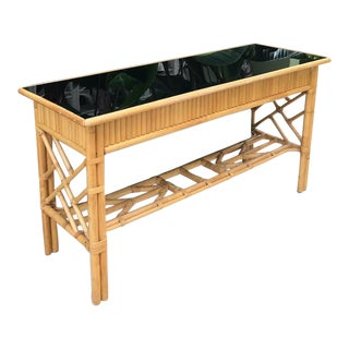 Chinese Chippendale Natural Rattan and Black Glass Console Table For Sale