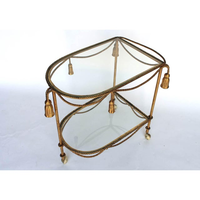 Mid 20th Century Rope & Tassel Bar Cart For Sale - Image 5 of 6