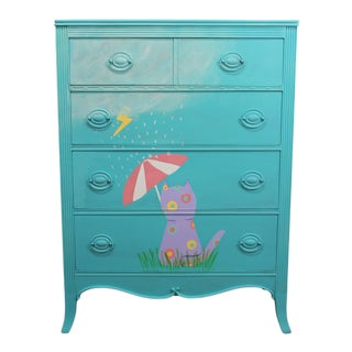 """Olympus the Cat"" Painted Child's Dresser For Sale"