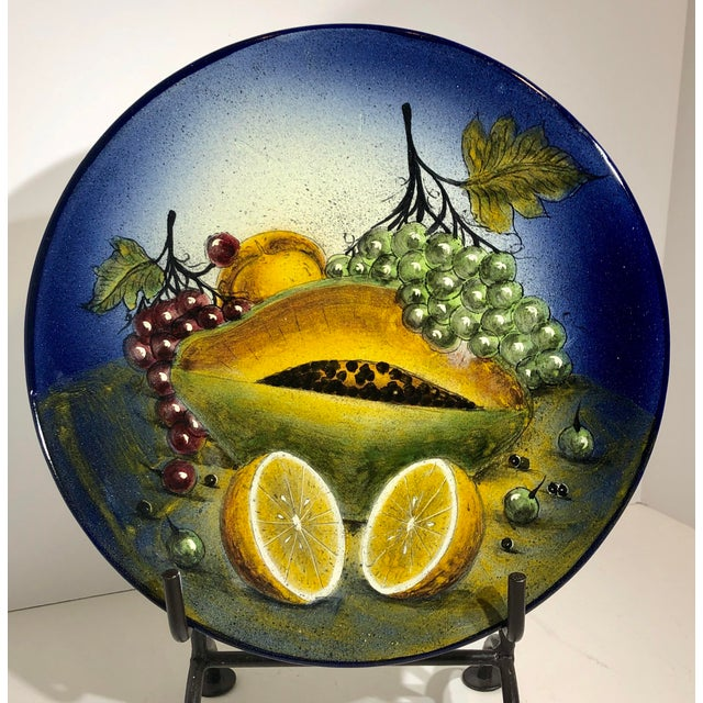 Rustic Southwestern Mexican Hand Painted Plate Fruit Decorative Blue and Yellow For Sale In Phoenix - Image 6 of 6