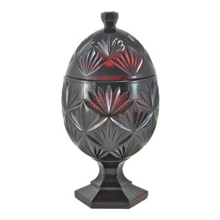 Ruby Red Egg-Shape Pedestal Jar For Sale