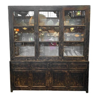 Vintage Salvaged Pine and Elm Wood Black Hutch For Sale