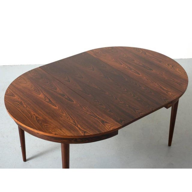 Round Hans Olsen Rosewood Dining Table with Extension Leaf - Image 5 of 9