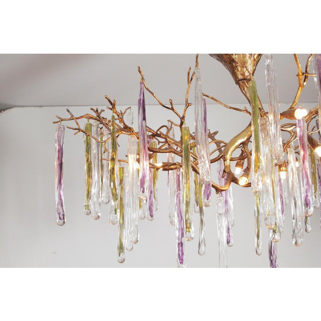 Modernist Gilt Bronze and Colorful Art Glass Chandelier For Sale In Philadelphia - Image 6 of 12
