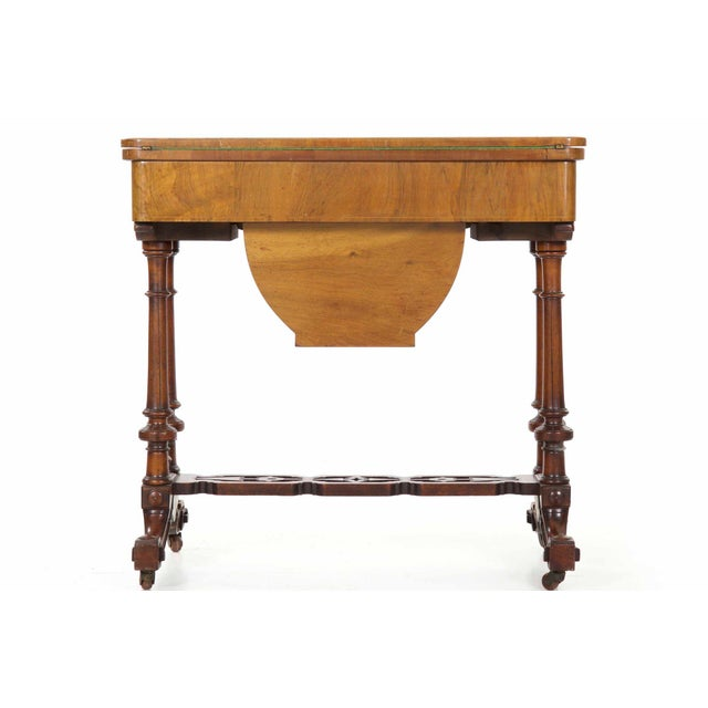 Ebony Early Victorian Figured Walnut Antique Games and Work Table, Circa 1860-80 For Sale - Image 7 of 13
