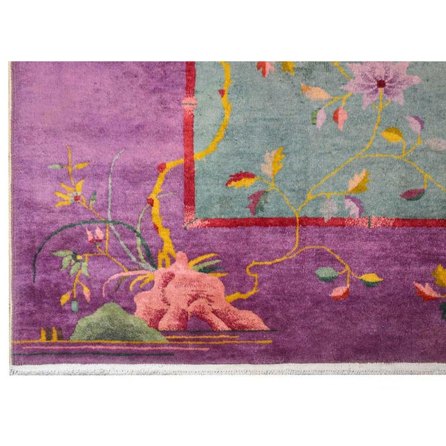 Green Chinese Art Deco Rug For Sale - Image 8 of 10