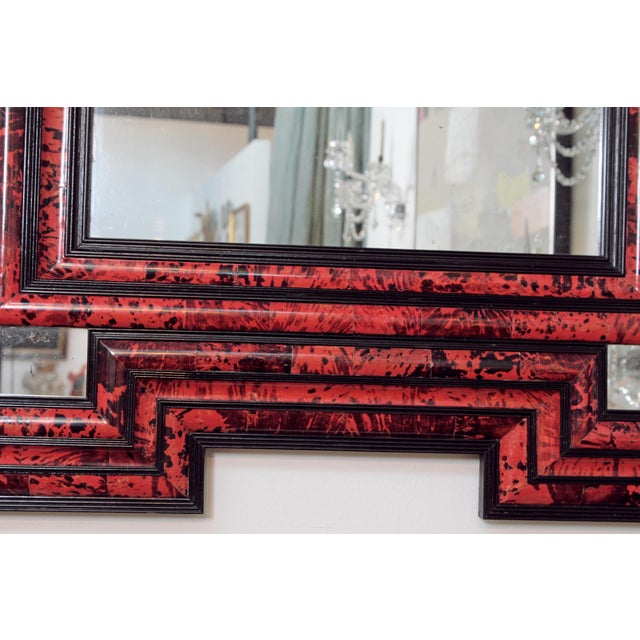 Large Scale Pair of Exceptional Dutch Baroque-Style Red Tortoise Mirrors For Sale - Image 9 of 13
