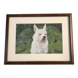 Westie Dog Print by Contemporary Artist Judy Henn Vintage Burled Wood Frame For Sale