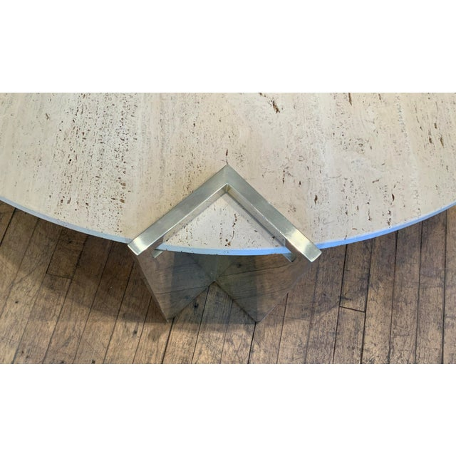 A rare and beautiful vintage 1970s cocktail table by Pace Collection. The elegant design has three legs of polished...