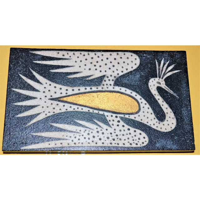 1940's Art Deco Waylande Gregory Phoenix Painted Ceramic Tile For Sale - Image 9 of 12
