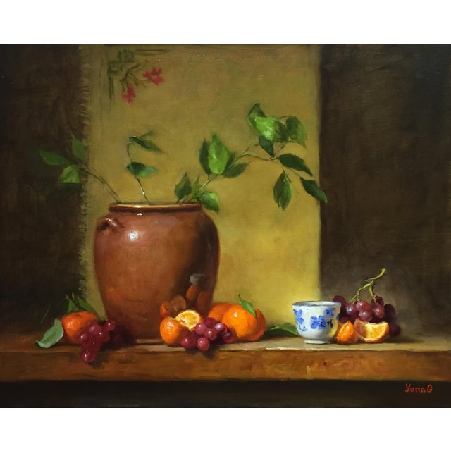 Still Life with Flower Pot, Tangerines and Grapes - Image 1 of 3