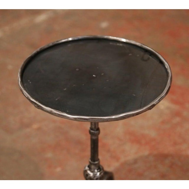 1920s Early 20th Century French Polished Iron Martini Pedestal Table For Sale - Image 5 of 10