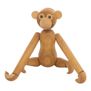 Mid Century Wooden Monkey For Sale