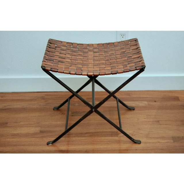 Leather and Iron Folding X-Base Ottoman / Stool For Sale - Image 12 of 12