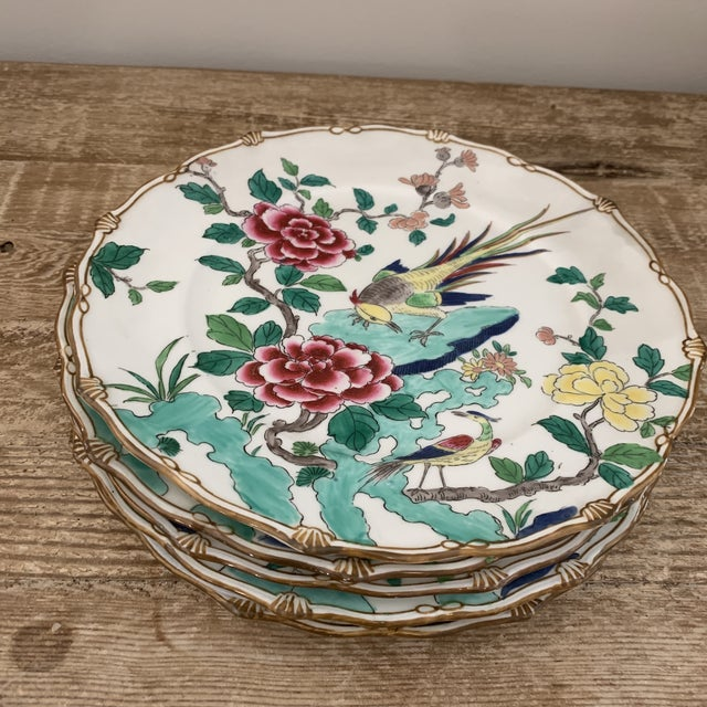 Ceramic Exceptional Antique Chinese Porcelain Bird Plates- Set of 5 For Sale - Image 7 of 7