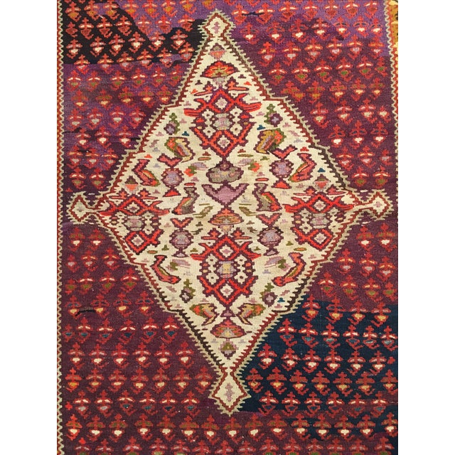 "Vintage Red & Purple Senneh Kilim - 3'4"" X 4'5"" - Image 3 of 9"
