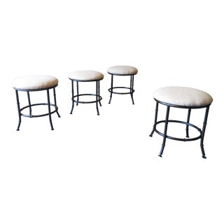 Vintage Mid Century Faux Bamboo Stools- Set of 4 For Sale
