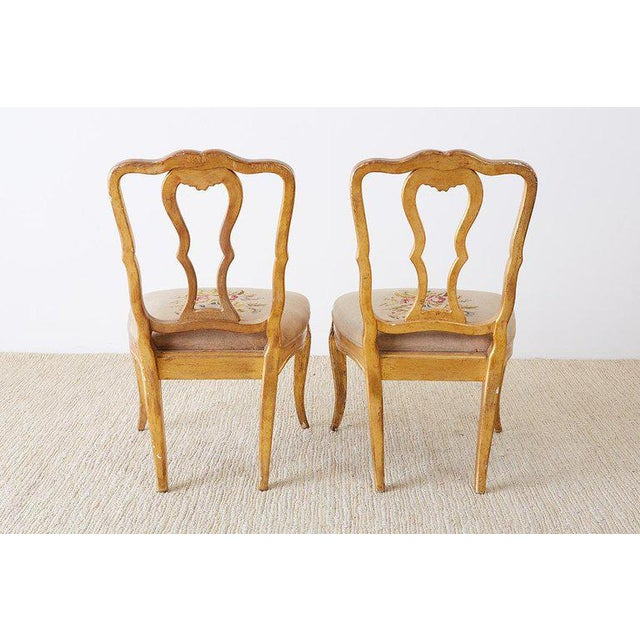 Set of Four Italian Giltwood Venetian Style Dining Chairs For Sale - Image 9 of 13