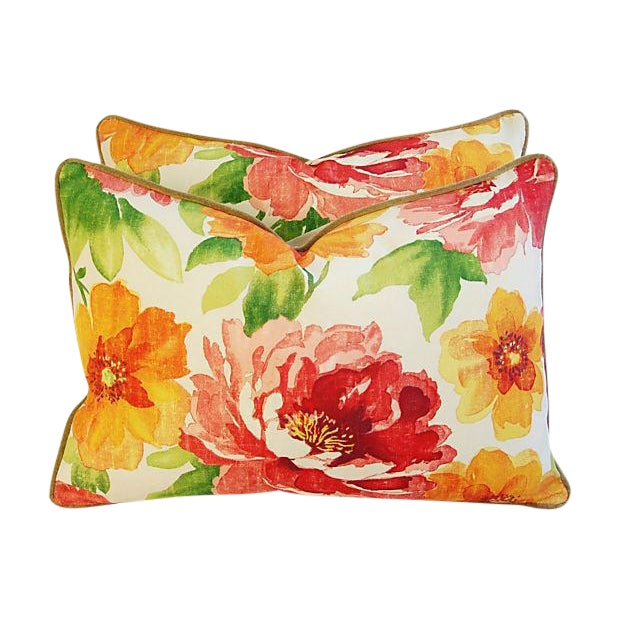 """Green Custom Floral & Scalamandre Velvet Feather/Down Pillows 26"""" X 18"""" - Pair For Sale - Image 8 of 9"""