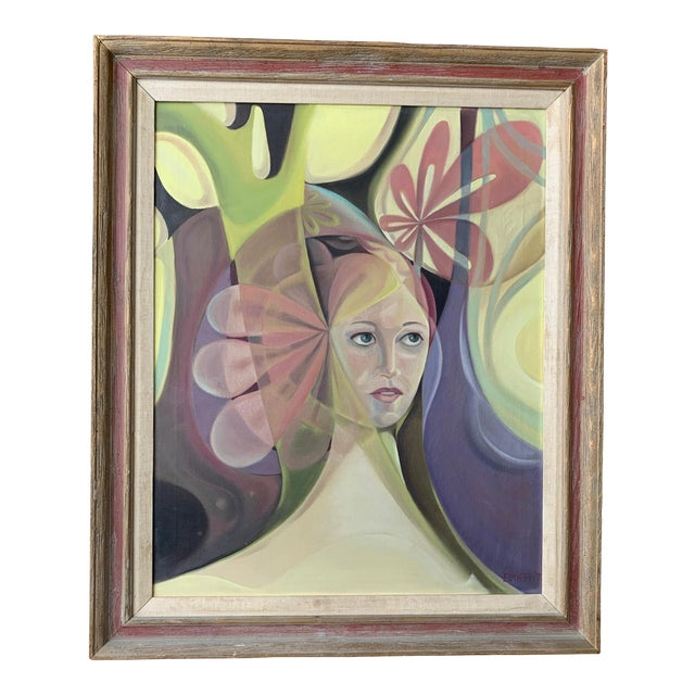1970s Vintage Abstract Female Portrait Painting For Sale
