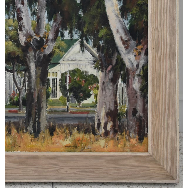 1950s Dorothy Neal, Cottage and Grove of Trees Landscape Oil Painting For Sale - Image 4 of 11