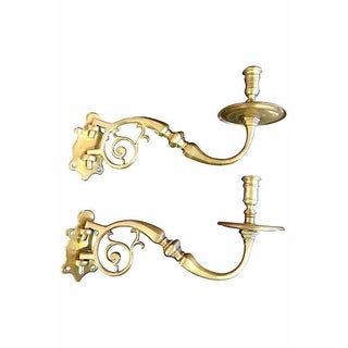 Brass Wall Candle Holders - A Pair For Sale