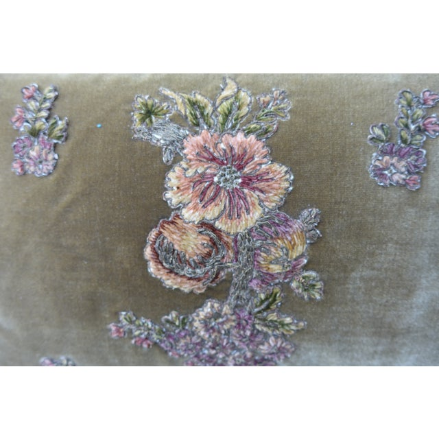 French Brown Silk Velvet Floral Applique Pillows - A Pair For Sale - Image 3 of 5