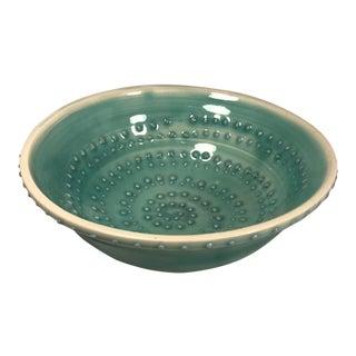Handmade Blue Ceramic Candy Bowl, Signed For Sale