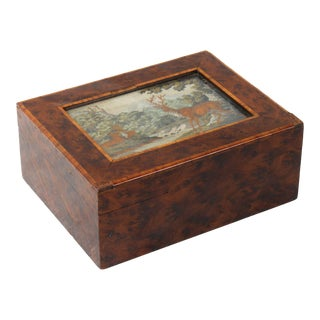 Burl Wood Petit Point Box For Sale