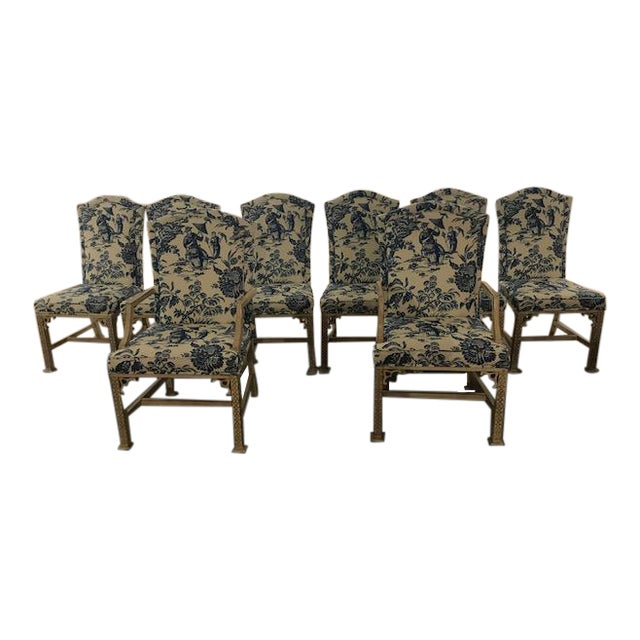 1990s Vintage Century Chinoiserie Chippendale Dining Chairs- Set of 8 For Sale