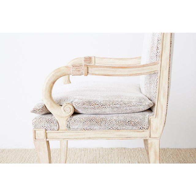 Wood Pair of Neoclassical Regency Style Armchairs or Library Chairs For Sale - Image 7 of 13