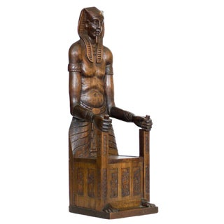 Carved Egyptian Pharaoh Amenhotep III Thrown Jewelry Box - 50th Anniversary Sale For Sale