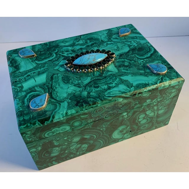A stunning and impressive Russian Malachite box with semi-precious stones set in custom sterling fittings. Turquoise,...