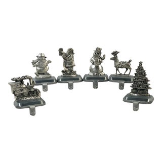 Set of 6 Christmas Stocking Holders Hangers Esl Pewter Metal For Sale