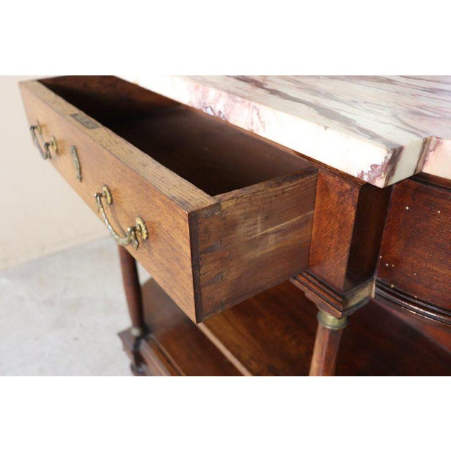 Empire 20th Century Italian Empire Style Oak Console Table With Columns and Marble Top For Sale - Image 3 of 12