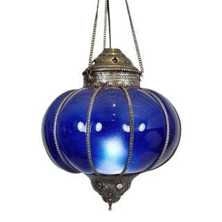 Vintage Blue Pumpkin Lantern For Sale