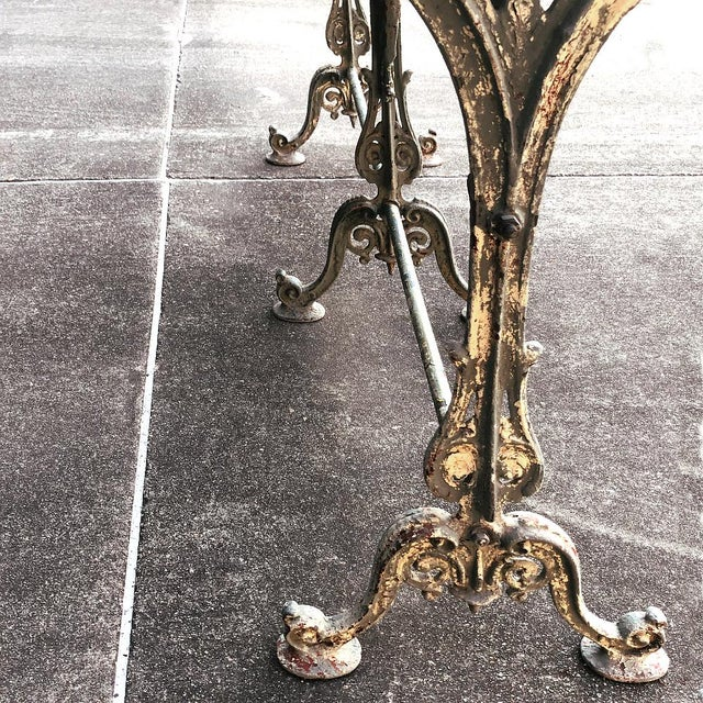 19th Century Cast Iron Marble Top Sofa Table ~ Confectioner's Table For Sale - Image 9 of 13