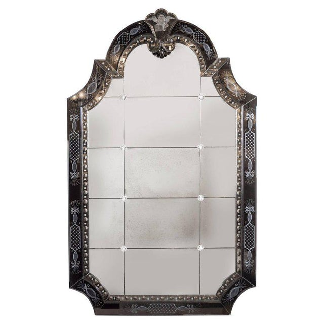 Glass Hollywood Regency/Art Deco Reverse Etched, Beveled & Scalloped Venetian Mirror For Sale - Image 7 of 7