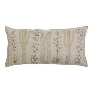 Boho Chic Cacti Lumbar Pillow For Sale