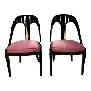 Pair of Mid-Century Neoclassic Style Spoon Chairs For Sale