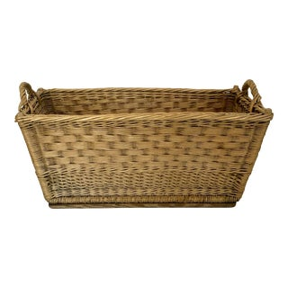 French Wicker Laundry Basket For Sale
