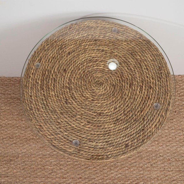 Small Rattan Wrapped Side Table For Sale - Image 4 of 6