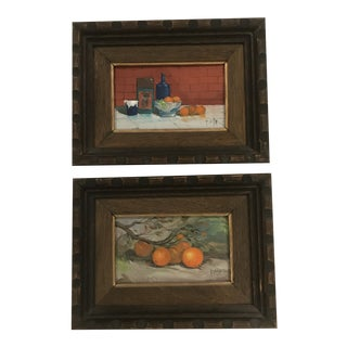 Vintage Fruit Still Life Paintings in Wooden Frames - a Pair For Sale