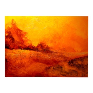 """""""Deserted Sun"""" Expressionist Landscape Oil Painting on Canvas, Grunge Background For Sale"""