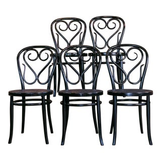 Set of Five Bentwood Bistro Chair For Sale