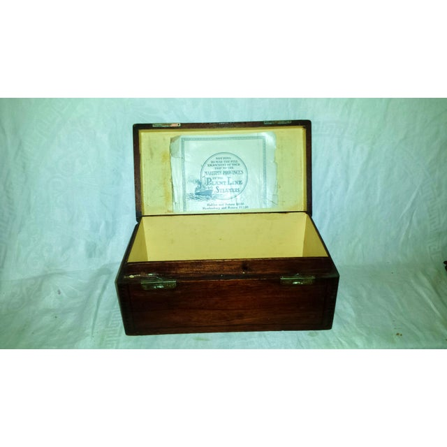 Antique Dove Tailed Wooden Cigar Humidor Box - Image 10 of 11