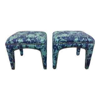 21st Century Upholstered Sam Moore Nailhead Lulu Stools- a Pair For Sale