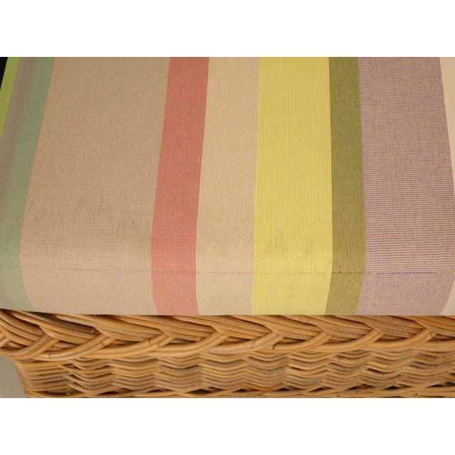 "Vintage Italian Les Toiles Du Soleil Upholstered ""Wicker Works"" Bench - Image 5 of 11"