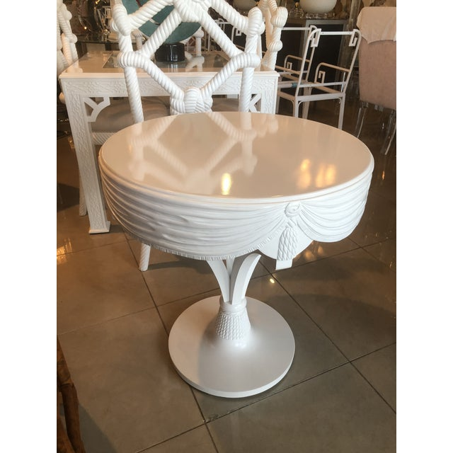 1970s Vintage Grosfeld House White Lacquered Tassel Wood Entry Center Side Table For Sale - Image 5 of 9