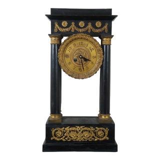 Antique French Empire Portico Mantel Clock 1850s Gilt Bronze Pillar Neoclassical For Sale